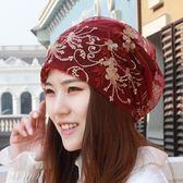 頭巾帽春夏新款花朵頭巾帽女士防塵帽光頭套頭包頭月子帽蕾絲空調堆堆帽 喵小姐