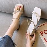 夾腳拖鞋 拖鞋女外穿夏季時尚百搭粗跟夾腳羅馬沙灘涼拖-Ballet朵朵
