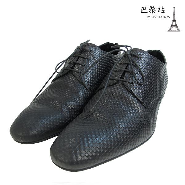 【巴黎站二手名牌專賣店】*現貨*Louis Vuitton LV 真品* 黑色格紋紳士鞋/皮鞋(6號)