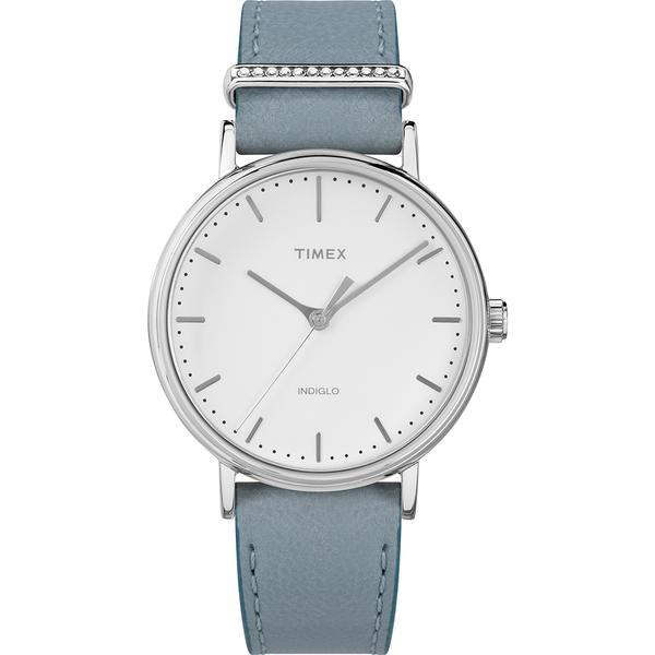 【TIMEX】天美時 週末Fairfield系列 晶鑽時尚優雅手錶(白/淺藍 TXTW2R70300)