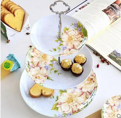 歐式點心盤三層創意骨瓷點心架下午茶具水果乾果盤子陶瓷蛋糕盤子