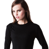 LADY 輕柔系列 中空紗_立領發熱保暖衣(黑色)