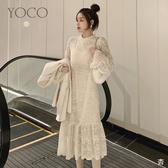 東京著衣【YOCO】氣質出眾微高領蕾絲喇叭袖魚尾裙洋裝(192102)