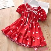 女童短袖洋裝 可愛寶寶夏季短袖裙子童裙新款女童圓點翻領連身裙兒童雪紡裙 小天使