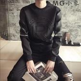 MG 修身長袖t恤-韓版圓領印花上衣