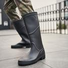雨鞋男士高筒加絨勞保工作成人水靴釣魚休閒時尚韓版防水長筒雨靴 快速出貨