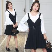 中大尺碼~黑白撞色長袖雪紡衫背心裙套裝(XL~4XL)