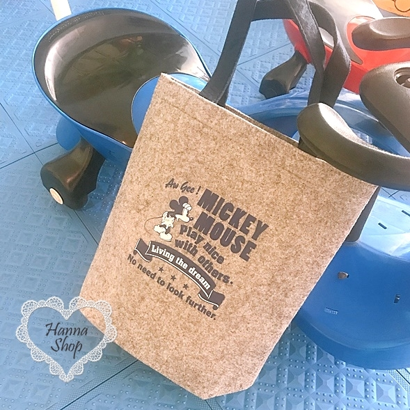 《花花創意会社》附錄。米奇See藍灰撞色毛絨俏皮手提包【H6672】