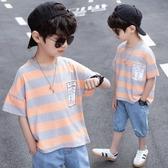 男童短袖T恤 男童條紋t恤5短袖2020年夏季6兒童體恤7圓領8夏裝9中