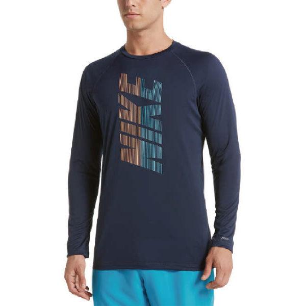 Nike 深藍 長袖 緊身防曬衣 抗紫外線 腳踏車服 UPF 40+ 吸濕 排汗 游泳 健身 上衣 NESS9540-489