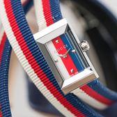 Gucci G-FRAME 漾彩紅藍白尼龍雙環腕錶 YA147502 熱賣中!