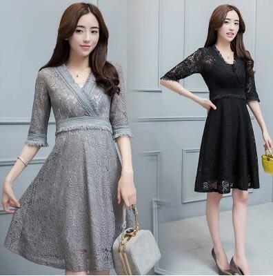 均一價399 韓國風氣質時尚純色V領性感蕾絲長裙短袖洋裝