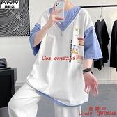 情侶裝短袖T恤男潮牌IG寬松韓版潮流新款大碼衣服【西語99】