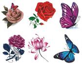 紋身貼防水女持久仿真玫瑰牡丹蝴蝶腳踝鎖骨遮疤痕性感50張花朵Mandyc