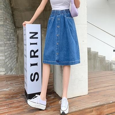 中長款牛仔半身裙 柏A116-C胖妹大碼女裝