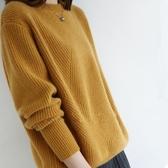 羊毛衫 秋冬新款大碼針織毛衣女寬鬆慵懶圓領加厚羊毛衫百搭外穿毛衣-Ballet朵朵