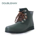 Double han時尚系帶男女情侶雨鞋仿帆布男式低幫雨靴戶外釣魚鞋