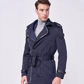 SST&C 男裝 藏青雙排扣風衣外套 | 0612009010