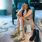 短靴 馬丁靴女短靴春夏季薄款百搭透氣瘦瘦靴英倫風網紗靴子女涼靴 (快速出貨)