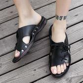 夏季一字男士拖鞋個性時尚外穿軟底沙灘鞋涼鞋男潮   琉璃美衣