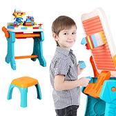 多功能積木桌 白板寫字板磁性畫板遊戲桌 加贈椅子積木板擦白板筆 -JoyBaby