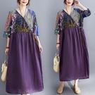 中大尺碼洋裝 2021夏裝文藝復古拼接印花短袖連身裙寬鬆V領腰間系帶遮肚子長裙
