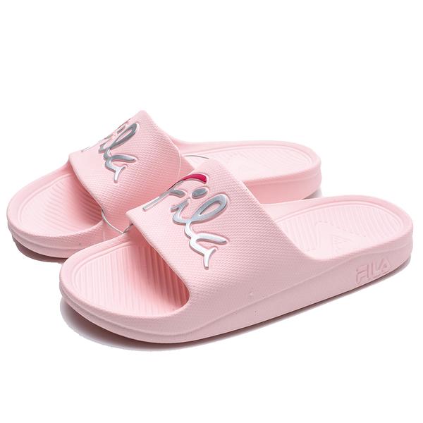 FILA (偏小建議大半號) 粉紅 銀字英文 草寫LOGO 橡膠 拖鞋 (布魯克林) 4S326U551