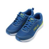 FILA 膠印輕量透氣跑鞋 藍螢 1-J919T-331 男鞋 鞋全家福