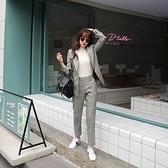 西裝套裝含外套+長褲(兩件套)-格子英倫風灰色休閒女西服73xs36[巴黎精品]