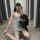 吊帶裙子女時尚韓版百搭露肩抽繩褶皺緊身包臀顯瘦打底洋裝 快速出貨