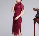 (45 Design)  大尺碼短禮服蕾絲 中國風 中老年旗袍 兒女結婚婚禮洋裝7