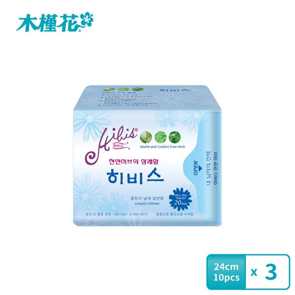 HIBIS木槿花 3D瞬潔草本衛生棉 日用24cm 20片裝x3包