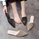 快速出貨 水鉆包頭半拖鞋女 夏季 平底低跟穆勒鞋個性外穿尖頭涼拖潮