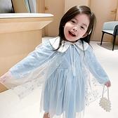 漂亮冰雪公主星星披肩長袖洋裝 附披肩 裙子 童裝