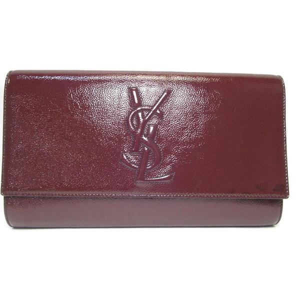 YVES SAINT LAURENT YSL 聖羅蘭 酒紅色漆皮Y字縫線手拿包 Clutch Bag 203855