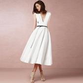 洋裝-無袖性感深V優雅氣質連身裙2色73ta43【時尚巴黎】