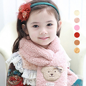 復古小熊毛絨加厚圍巾 刷毛 兒童圍巾