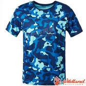 Wildland 荒野 0A61650-72深藍色 男彈性迷彩短袖功能衣 抗紫外線/吸濕排汗/休閒衫/迷彩裝/機能*