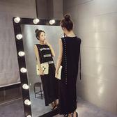 FINDSENSE G5 韓國時尚 夏裝 百搭 字母 開叉 顯瘦 無袖 T恤 長款 連身裙