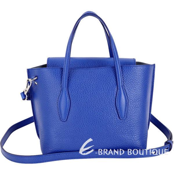TOD'S Joy Bag T釦牛皮手提肩背包(寶藍色) 1920046-23