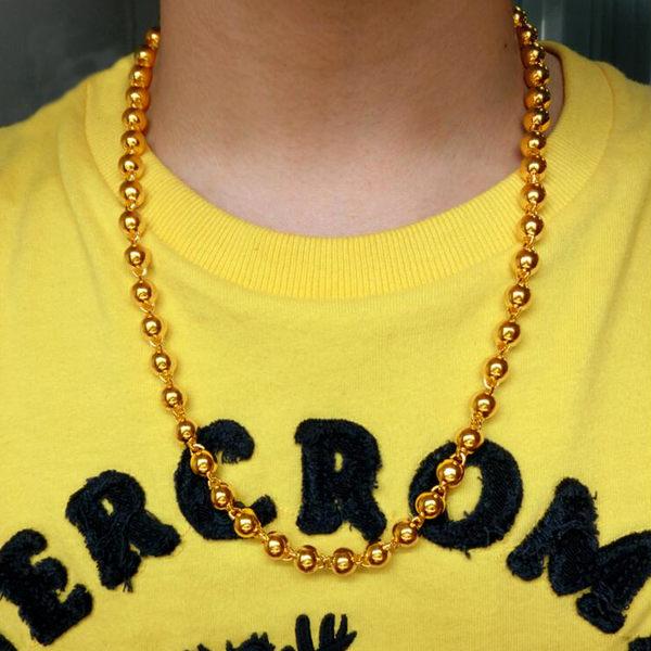 鍍金項鍊 越南沙金項鏈男士實心光面圓珠鏈情侶鍍金項鏈歐幣仿黃金項鏈【情人節禮物限時八折】