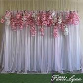 新款婚慶道具背景紗幔布置雙層網紗布幔舞臺背景幕布婚禮打底布幔 范思蓮恩