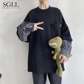 國潮韓版潮流帥氣上衣原創嘻哈高街純色寬鬆假兩件新款打底衫 提拉米蘇