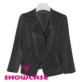 【SHOWCASE】帥氣風格立體剪裁條紋斜拉鍊修身小外套(黑)