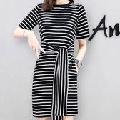 春夏韓版黑白條寬鬆顯瘦綁腰帶短袖洋裝 11850067