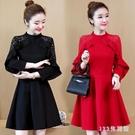 女裝新款大碼洋裝 胖mm減齡洋氣蕾絲拼接紅色長袖連身裙 EY10034