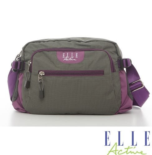 Backbager 背包族 【ELLE Active】-格紋系列-側背包/斜背包/隨身包(灰色)-小
