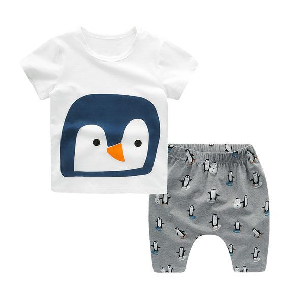 童裝 小企鵝短袖上衣+ 短褲哈倫褲  套裝 橘魔法Baby magic  現貨  短袖上衣