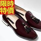 女牛津鞋-漆皮美式風細緻繫帶圓頭女皮鞋3...