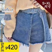 現貨_特價-Q假一片式牛仔褲裙-附腰帶S-XL-藍 【04070234】
